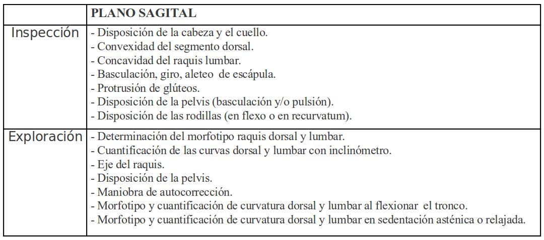 Tabla I.- Sistemática de exploración del plano SAGITAL del raquis.
