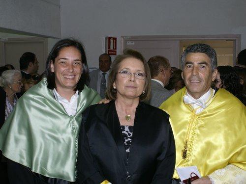 Pilar Andújar con sus directores Prof. F. Santonja y Profª P Sainz de Baranda.